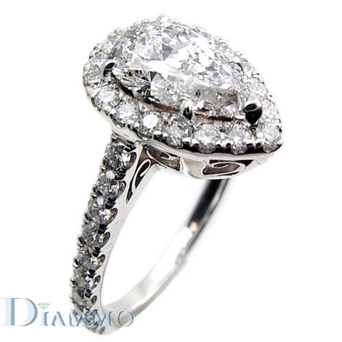 H-1973 Micro-Pave Set Diamond Engagement Ring Semi Mount with Halo for Pear Shape Center