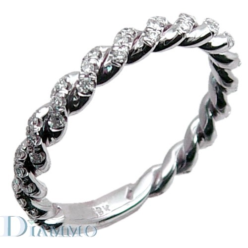 Hand Made Twisted Micro pave Diamond Wedding Ring