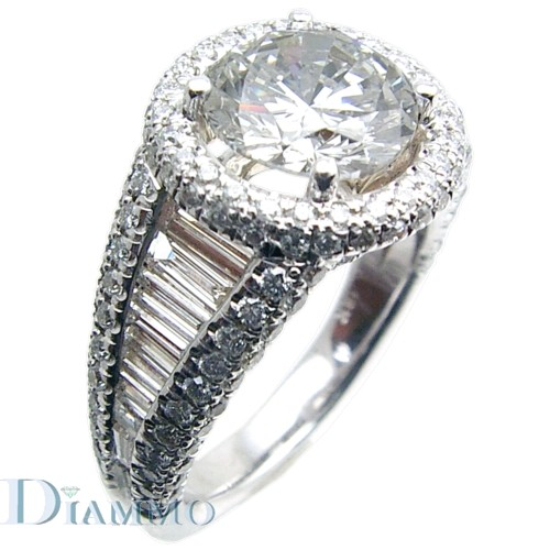 Micro-Pave Set Round with Channel Set Baguette Diamond Engagement  Ring Semi Mount with Halo for a Round Center