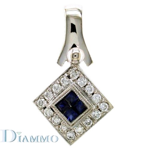 Diamond and Invisible Set Sapphire Pendant