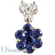 Round Shaped Cluster Sapphires and Diamonds Pendant