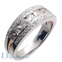 Channel Set Diamond Wedding Ring with Pave Sides
