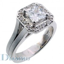Pave Set Diamond Engagement Ring Semi Mount with Halo for Princess Cut Center