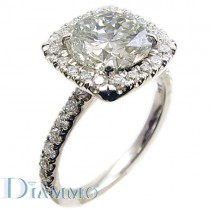 Pave Set Engagement Ring for Round Center with Cushion Halo