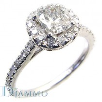 Micro Pave Diamond Engagement Ring Semi Mount with Round Halo for a cushion center