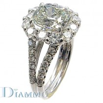 H-2174 Split Shank Pave Set Diamond Engagement Ring Semi Mount with Halo for Cushion Center
