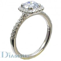 Pave Set Diamond Engagement Ring Semi Mount with Cushion Halo for Round Center