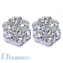 Round Shape Cluster Diamond Stud Earrings