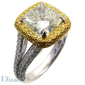 Two Tone, Split Shank, Micro Pave Set Diamond Engagement Ring Semi Mount with Halo for Cushion Center
